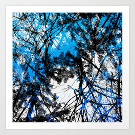 Blue tree pillow one Art Print