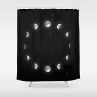 moon phases Shower Curtains featuring Moon Phases by KittyBitty