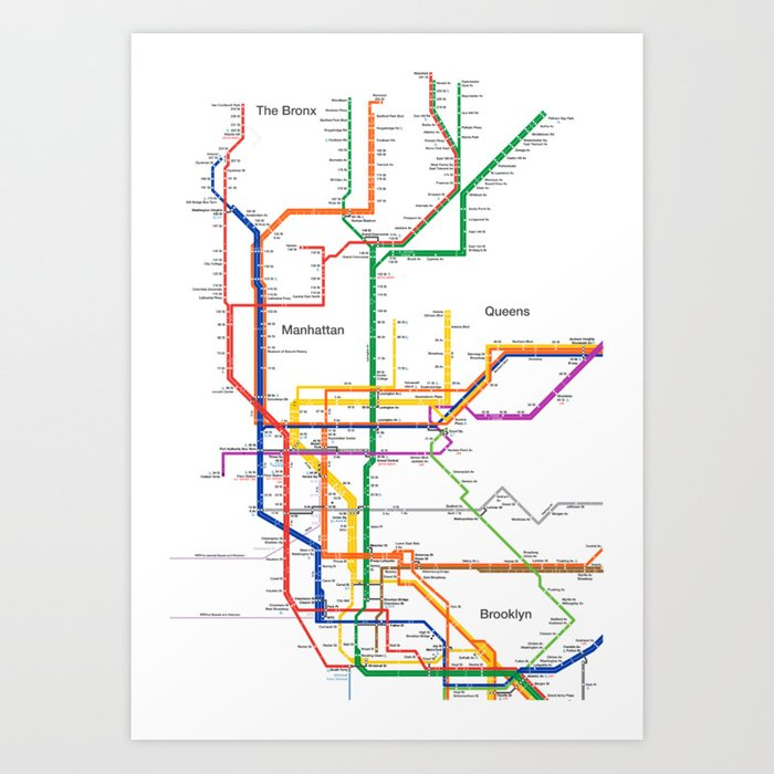 New York City Subway Map Art Print By Igorsin Society6
