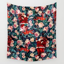 Santa Claus and Floral Pattern Wall Tapestry
