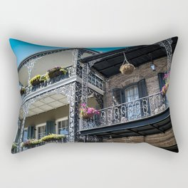 Beautiful Traditional Houses with Intricate Balconies and Baskets Filled with Blooming Spring Flowers in the French Quarter of New Orleans, Louisiana, USA Rectangular Pillow