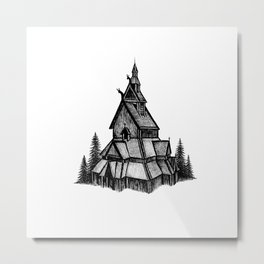 Borgund Stave Church Metal Print