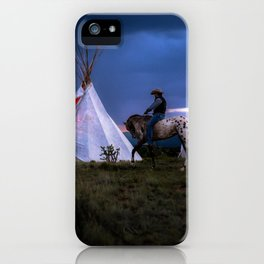 Cowboy on Horse With Teepee iPhone Case