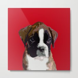 Boxer Puppy in Red Metal Print