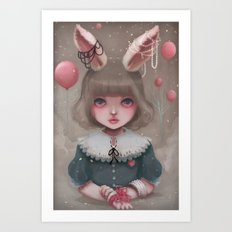 Juliette, balloons & pearls... Art Print