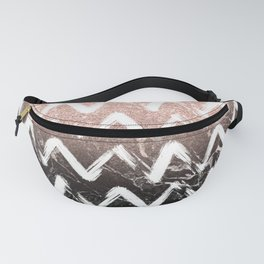 Modern faux rose gold glitter black marble chevron Fanny Pack