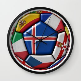 Ball with flag of Iceland in the center Wall Clock