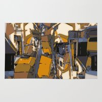 buildings Area & Throw Rugs featuring Buildings 8 by Marianna Shomero