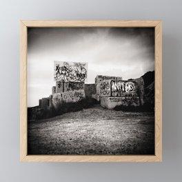 Graffiti on cement blocks, black and white square Framed Mini Art Print