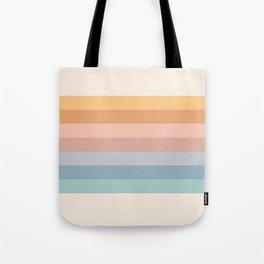 Pastel Retro Rainbow Stripes  Tote Bag