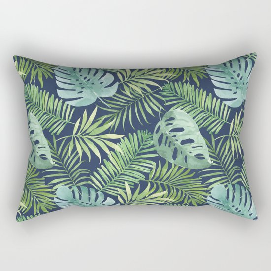 Tropical Branches on Dark Pattern 06 Rectangular Pillow