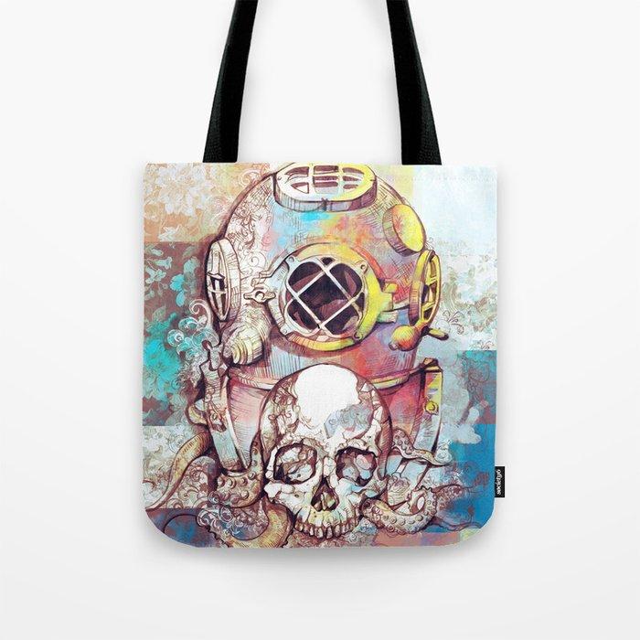 vintage floral skull Tote Bag