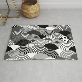 Nature background with japanese sakura flower, Cherry, wave circle Black gray white colors Rug
