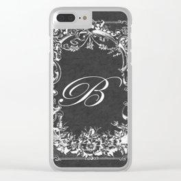 B Vintage Wild Rose Chalkboard Clear iPhone Case