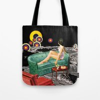 northern lights Tote Bags featuring Northern Lights by Eugenia Loli