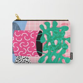 Shredding - indoor house plant pop art grid pattern minimal abstract neon 1980s style memphis retro Carry-All Pouch