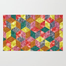 Colorful Isometric Cubes VI Rug