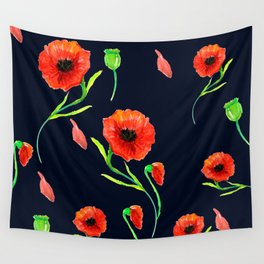 Red Poppies Field Wall Tapestry