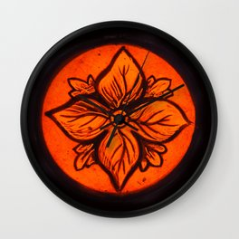 Medeval Stained Glass Flower. Wall Clock