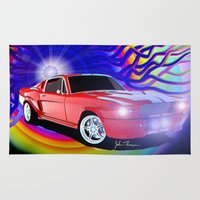 mustang Area & Throw Rugs featuring 65 Mustang by JT Digital Art