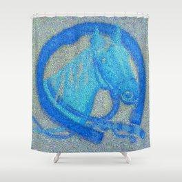 blue-horse-mosaic Shower Curtain