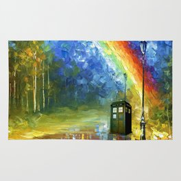 TARDIS WITH RAINBOW Rug