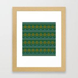 Knitted Christmas pattern green Framed Art Print