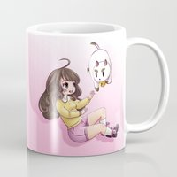puppycat Mugs featuring bee and puppycat by Diogo Dornelles