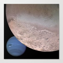 Montage of Neptune and Triton by Spacecraft Voyager 2 Print Canvas Print