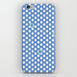 Blue Wicker with Blue Flowers iPhone Skin