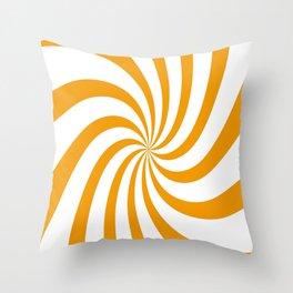 Spiral (Classic Orange & White Pattern) Throw Pillow