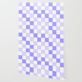 Periwinkle Blue Lavender Checkerboard Wallpaper
