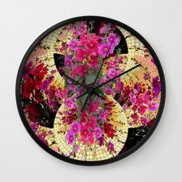 CORAL PINK & HOLLYHOCKS ABSTRACT GARDEN Wall Clock