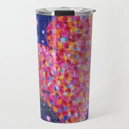 Graffiti heart on Brick Wall with Paint Splatters Travel Mug