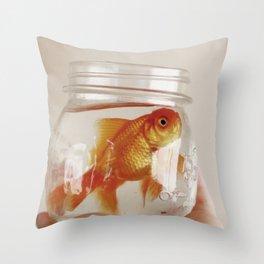 jar of fish Throw Pillow