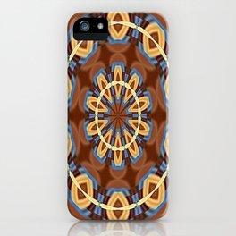 Blue Wood Kaleido Pattern iPhone Case