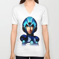megaman V-neck T-shirts featuring Megaman wolowitz by seb mcnulty