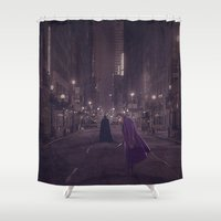 gotham Shower Curtains featuring Gotham Nights by Ed Burczyk