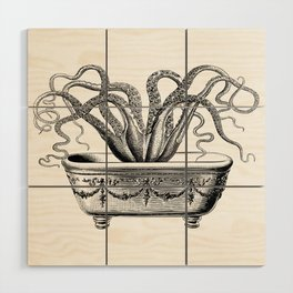 Tentacles in the Tub | Octopus | Black and White Wood Wall Art