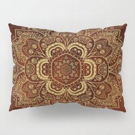 Gold Flower Mandala on Red Textured Background Pillow Sham
