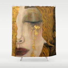 Golden Tears (Freya's Heartache) portrait painting by Gustav Klimt Shower Curtain