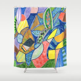 Tropical Shapes Cocktail with Leaves Shower Curtain