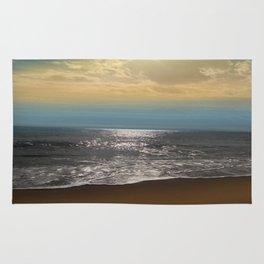 Golden Sky Over The Ocean Rug