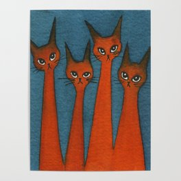 Candy Corn Whimsical Cats Poster