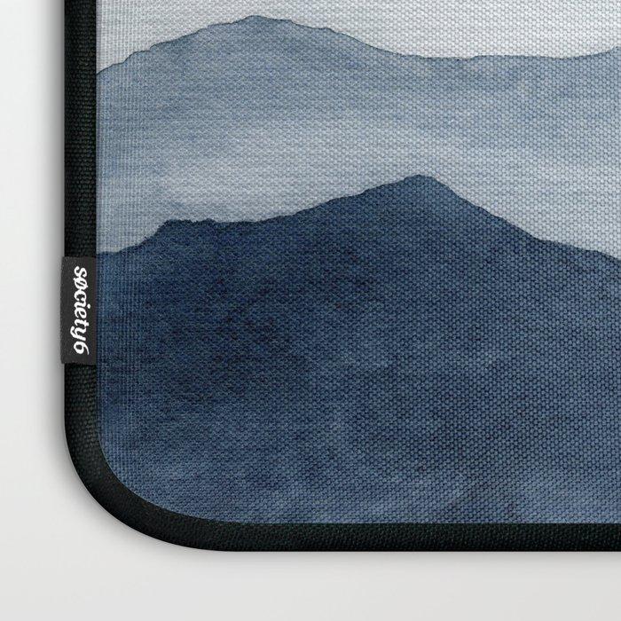 Indigo Abstract Watercolor Mountains Laptop Sleeve