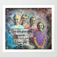 Family Portrait Commission with Isaiah Quote Art Print