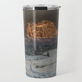 Winter Sunset After Snowfall in the Italian Alps landscape painting Travel Mug