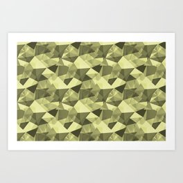Abstract Geometrical Triangle Patterns 4 VA Lime Green - Lime Mousse - Bright Cactus Green - Celery Art Print