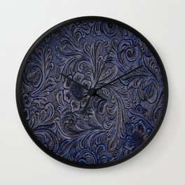 Turquoise Embossed Tooled Leather Floral Scrollwork Wall Clock