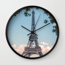 Eiffel Tower During Sunset | City Urban Landscape Photography of Paris France Wall Clock